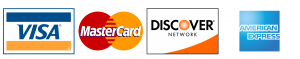 Visa, Mastercard, Discover, American Express accepted.